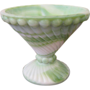 Westmoreland Slag Glass Green and White Footed Dish