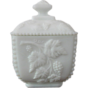 Westmoreland Paneled Grape Milk Glass Beaded Square Puff Box with Lid