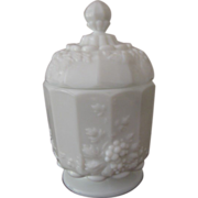 Westmoreland Milk Glass Paneled Grape Sugar Bowl with Lid