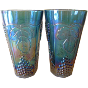 Vintage Indiana Glass Harvest Blue Carnival Tumblers