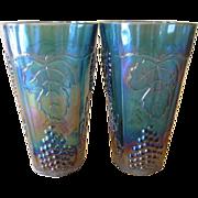 Vintage Indiana Glass Harvest Blue Carnival Tumblers