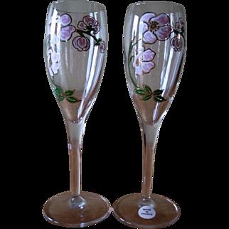 Vintage Perrier Jouet Champagne Flutes Belle Epoque Made in France