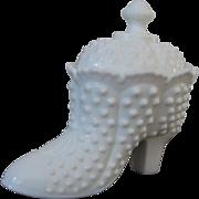 Fenton Hobnail Milk Glass Covered Slipper Candy Box