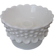 Fenton Hobnail Milk Glass Footed Candleholder