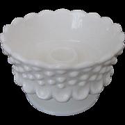 Fenton Hobnail Milk Glass Footed Candleholder