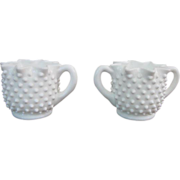 Fenton Hobnail Milk Glass Full Star Shaped Creamer and Sugar