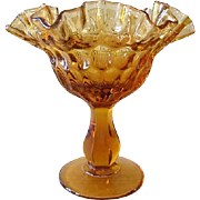 Fenton Thumbprint Colonial Amber Crimped Round Compote # 4429