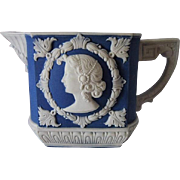 Schafer & Vater Germany Blue Jasperware Cameo Portrait Creamer ca.1910