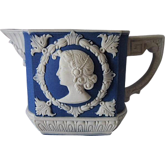 Schafer & Vater Germany Blue Jasperware Cameo Portrait Creamer ca.1910