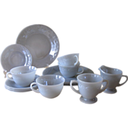 Vintage Fire-king Gray Laurel Set of Dinner Plates, Cups and Saucers, Creamer and Sugar