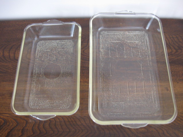 Vintage Usa Glasbake Rectangular Oven Dishes Clear Glass