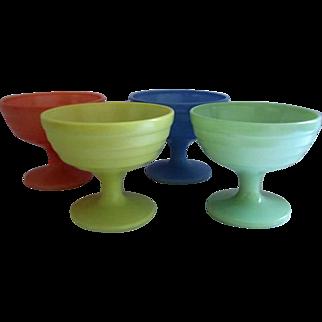 Hazel-Atlas Glass Modertone Platonite Tall Sherbet Cups