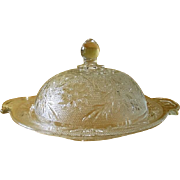 Anchor Hocking Clear Glass Sandwich Round Covered Butter Dish
