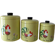 Vintage Ransburg Set of Three Handpainted Chanticleer Pattern Canisters Model 236