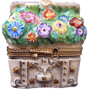 Limoges Porcelain Box Chest Filled With Flowers Limited Edition 23/500 Signed by Artist Jacques