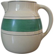 Vintage Roseville Pottery Creamware Green Band Stripe Pitcher