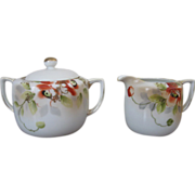Vintage Nippon Handpainted Porcelain Creamer and Covered Sugar Bowl