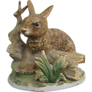 Homco Rabbit Over A Log Bisque Figurine