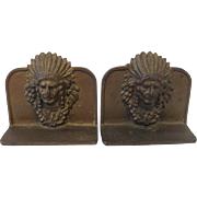 Vintage  Cast Iron Native American Chief Head Bookends c.1930