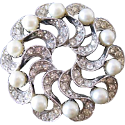 Bogoff Swirls and Faux Pearls Vintage Brooch