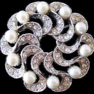 Bogoff Swirls and Faux Pearls Vintage Brooch