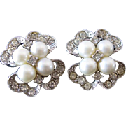 Vintage Bogoff Clip Earrings Four swirls Faux pearls and Rhinestones