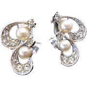 Vintage Bogoff Clip Earrings Two swirls Faux pearls and Rhinestones