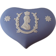 Wedgwood 1953 Jasperware Blue Heart Shaped Box Duke of Edinburgh