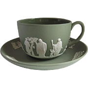 Wedgwood 1970 Jasperware Flat Cup and Saucer Cream on Celadon