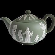 Wedgwood 1968 Jasperware Tea Pot and Lid Cream on Celadon