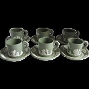 Wedgwood 1971 Jasperware Six Demitasse and Saucers Cream on Celadon