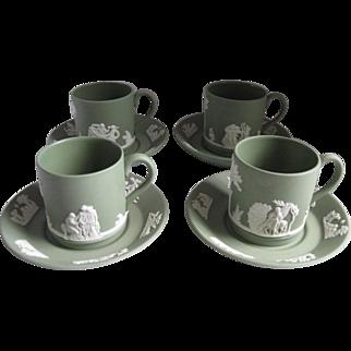 Wedgwood Jasperware Four Flat Demitasse and Saucers Cream on Celadon