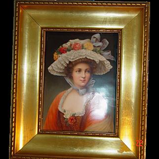 KPM Porcelain plaque of a women