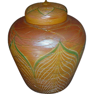 Durand art glass ginger jar pulled feather