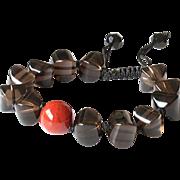 Smoky Quartz with Carnelian Gemstone Bracelet