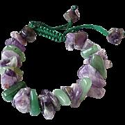 Amethyst with Green Aventurine Gemstone Bracelet