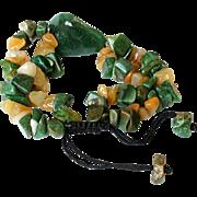 Green Aventurine with Agate and Yellow Jasper Gemstone Bracelet.