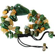Green Aventurine with Agate and Yellow Jasper Gemstone Bracelet.