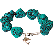 Gemstone Bracelet with reconstituted dyed Turquoise and Garnet, Sterling Silver Dolphin