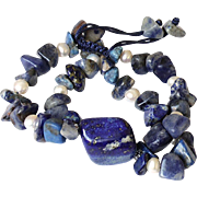 Lapis Lazuli Bracelet with Sodalite and cultured Freshwater Pearls