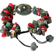 Ocean Jasper and Green Agate Bracelet with dyed red Sea Bamboo
