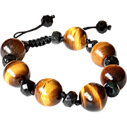 Tiger Eye Bracelet with Black Obsidian