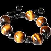 Tiger Eye Bracelet with Black Obsidian