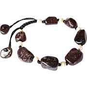 Rubellite Bracelet with cultured freshwater Pearls