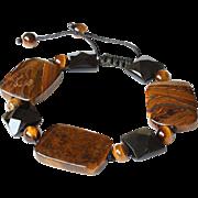 Tiger Eye with Rainbow Obsidian Bracelet
