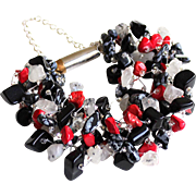 Multi-color Bracelet with Black Obsidian, Red dyed Corals, Snow Flake Obsidian and Rutilated Quartz.