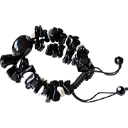 Black Agate and Black Obsidian Bracelet with Hawlite