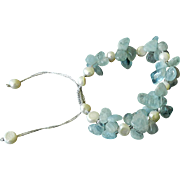Aquamarine and cultured white Freshwater Pearls Bracelet