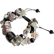 Double stranded Bracelet with Black Agate, Quartz and Black Obsidian