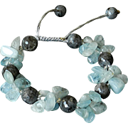 Aquamarine and Labradorite Bracelet